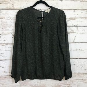 michael kors green gold blouse